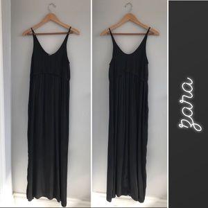 ZARA Solid Black Maxi Dress • Small